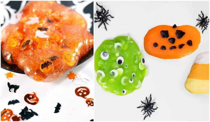 activité manuelle primaire pour apprendre à faire du slime, comment faire du slime d'halloween de couleur vert ou orange