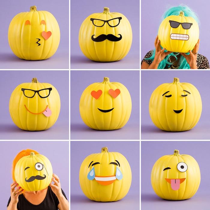 bricolage halloween facile, citrouille emoji en peinture jaune avec des traits de visage en papier coloré