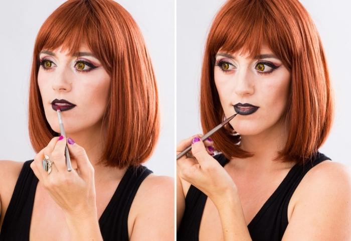 touche finale du maquillage vampire glamour, maquillage de la bouche ombré lips