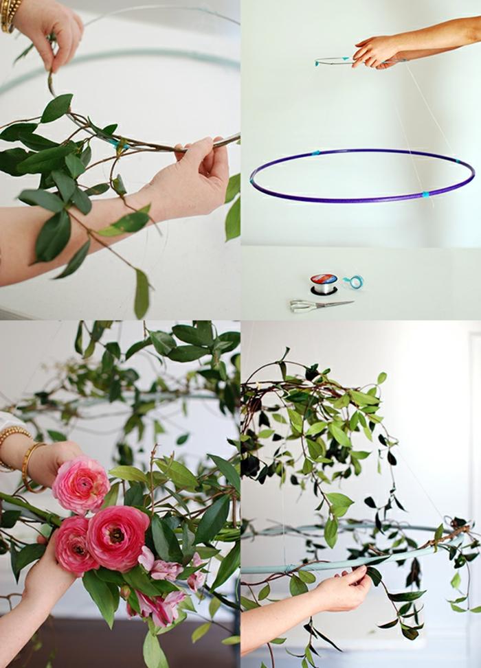 deco champetre mariage, chandelir avec vignes de jasmin et jolies fleurs à faire soi-meme