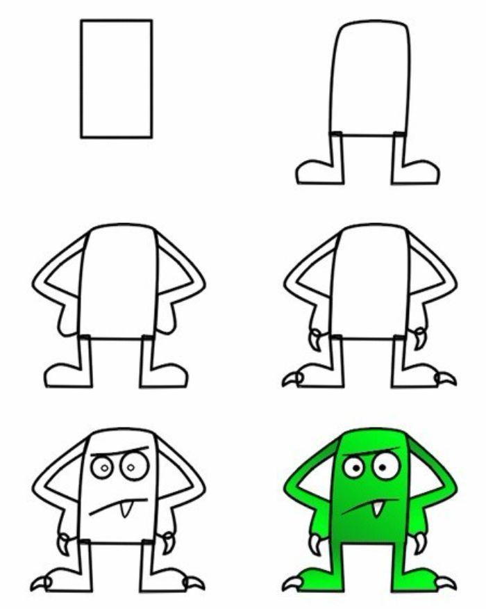 comment faire un dessin monstre halloween à partir d un rectangle avec détails de visage simples et corsp couelur verte