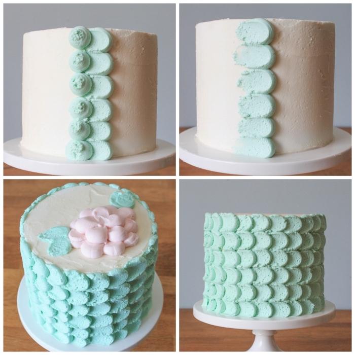 joli gâteau d'anniversaire aux pétales vert pastel réalisées avec de la crème au beurre à l'aide d'une poche à douille