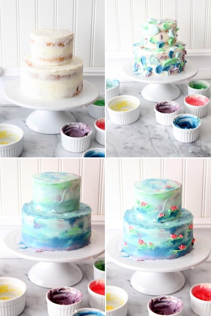 un gâteau original à deux étages au glacage effet aquarelle réalisé avec de la crème au beurre colorée