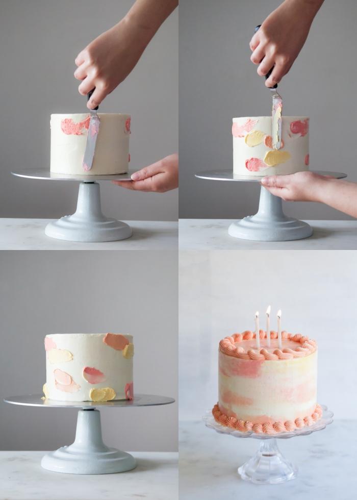 comment faire un gateau aquarelle facile au glaçage à la crème au beurre, nappage gâteau coloré effet aquarelle