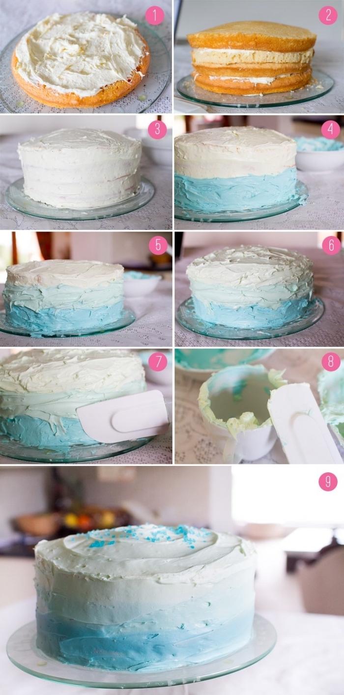 tuto de montage et nappage gateau d'un ombre cake au glaçage dégardé facile à réalisée à l'aide d'une spatule