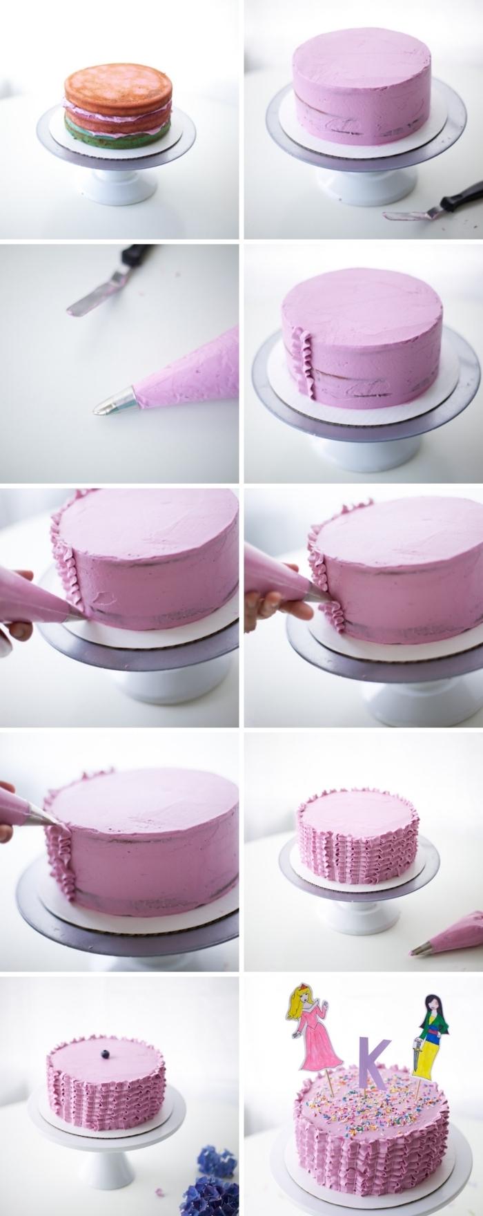 décoration gateau anniversaire facile à réaliser à l'aide du glaçage coloré violet et une poche à douille