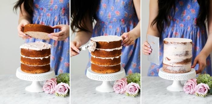 le montage facile d'un gâteau naked cake à la crème au beurre, comment faire un gateau layer cake pour un anniversaire ou un mariage