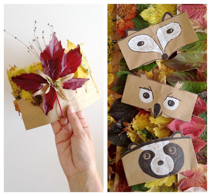 bricolage automne maternelle couronne en sac papier kraft avec dessin animaux ou deco de feuilles mortes