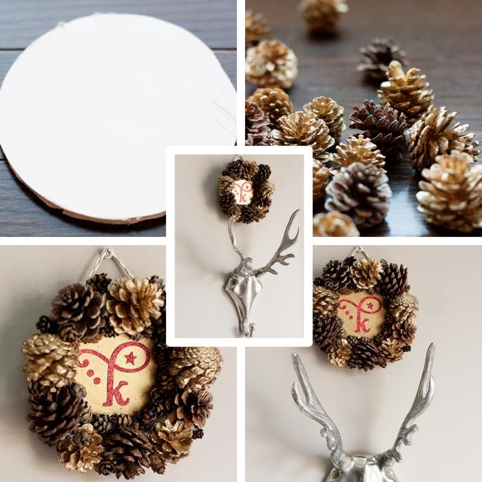 idée comment faire un cadre photo rond avec pommes de pin colorées en or, objet diy facile avec pommes de pin