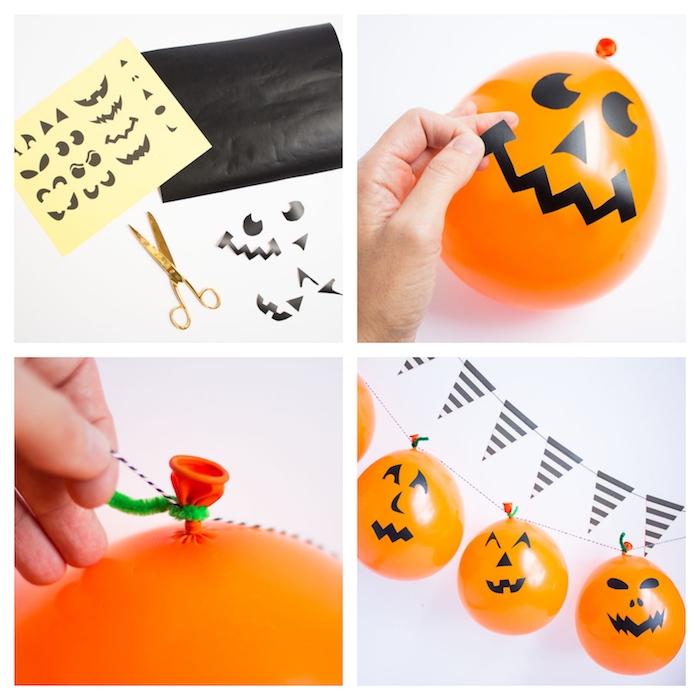 bricolage halloween facile en guirlande halloween de ballons orange avec motif jack o lantern stickers originaux, tige en cure pipe verte