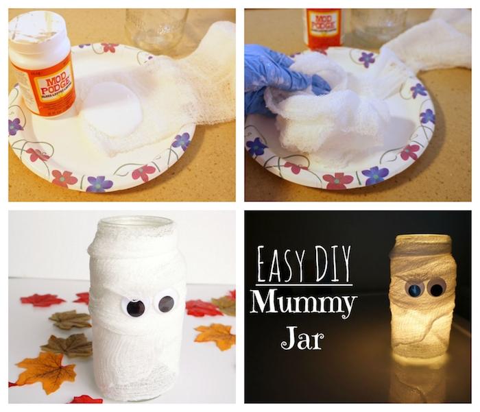photophore de halloween en pot de verre décoré de bandage avec des yeux mobiles, imitation fantôme, décoration halloween a fabriquer