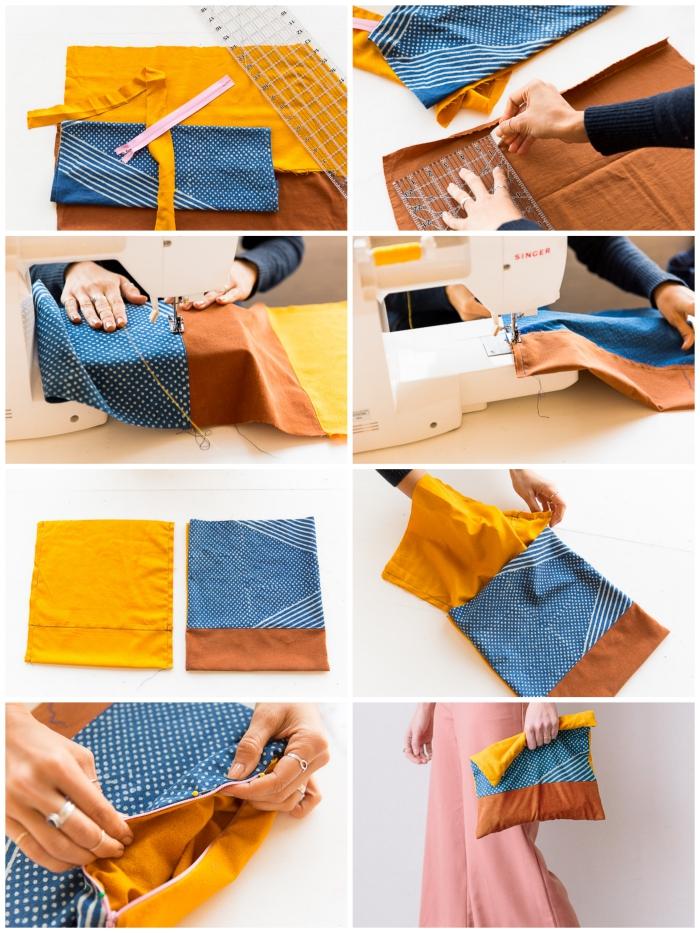 comment faire une pochette en tissu facile, tuto de couture facile pour réaliser un sac pochette avec trois tissu différents