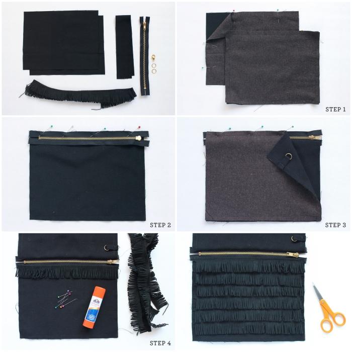 tuto couture facile pour débutants, apprendre à coudre une pochette zippée en tissu à franges