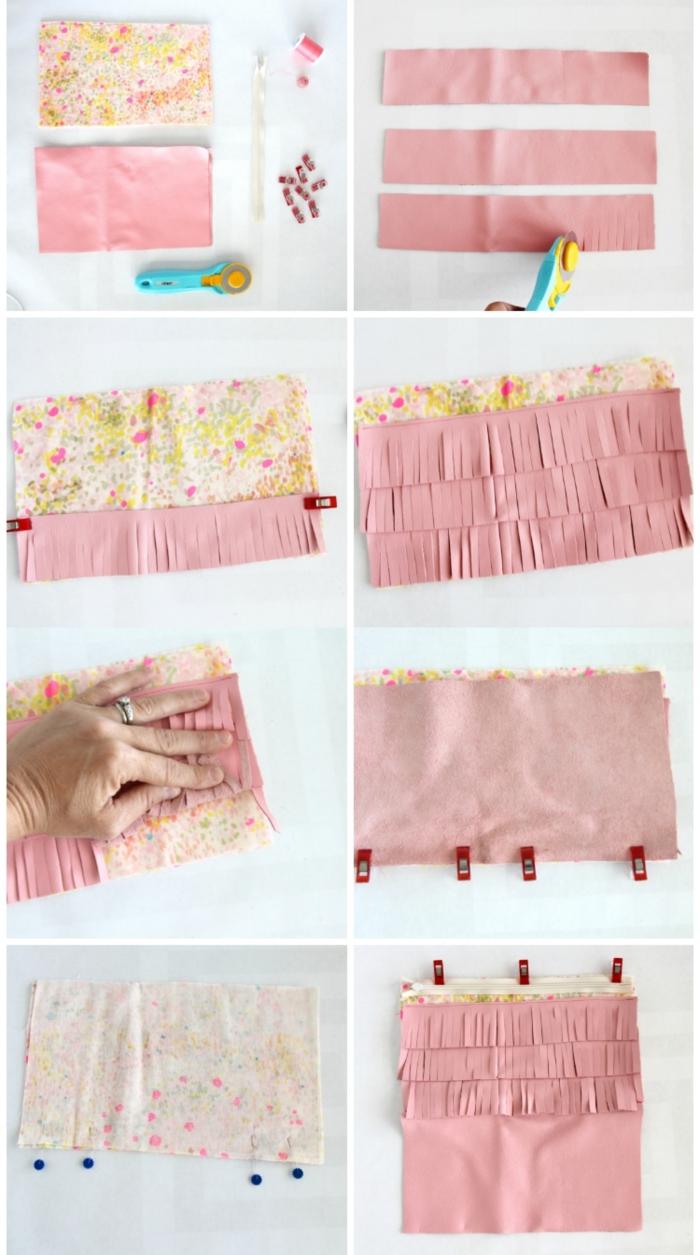 comment faire une pochette en tissu facile à franges, pochette diy bi-matière