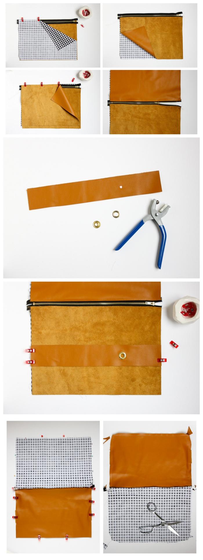 tuto couture pochette zippée et doublée en tissu contrastant à motif vichy, avec lanière centrale