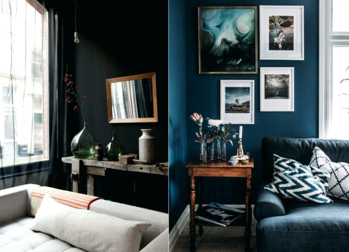 idée déco salon, couleur mur salon bleu ou noir, coussins graphiques, tables consoles vintage