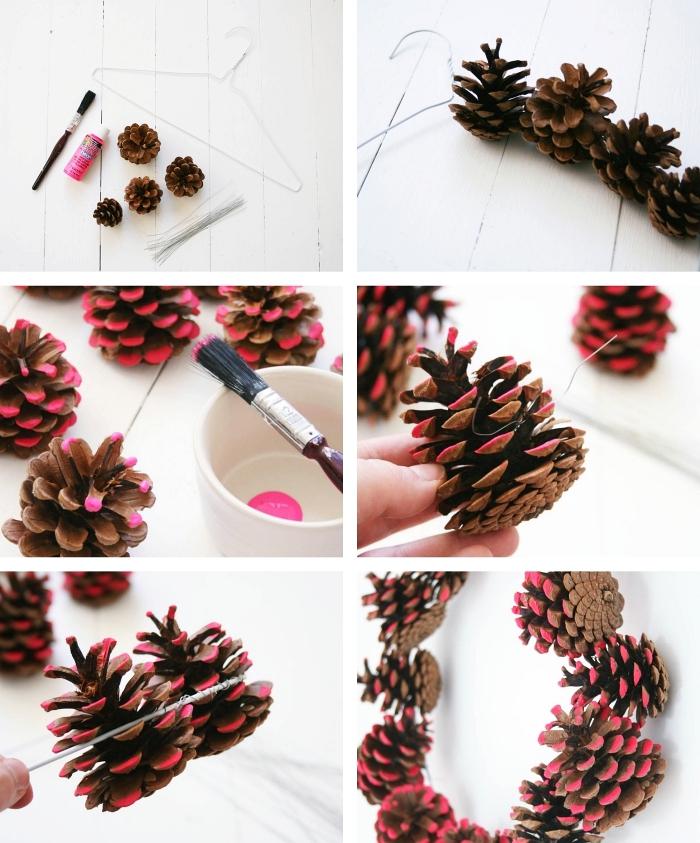 étapes à suivre pour créer une guirlande décorative diy en pomme de pins, idée bricolage pomme de pin accrochées sur un cintre fil de fer