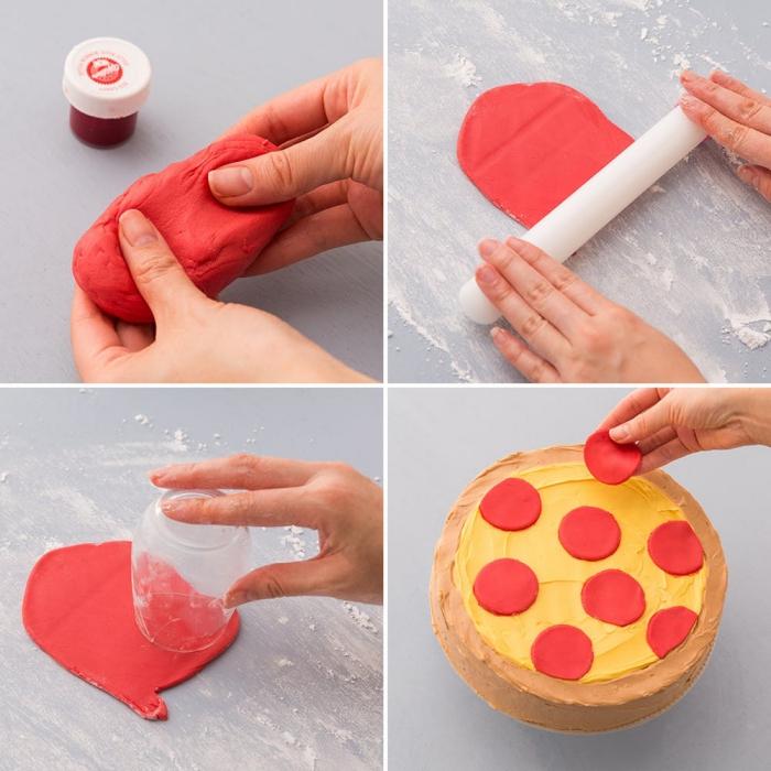 des ronds en pâte à sucre pour la décoration d'un gateau design pizza au glaçage jaune et marron, comment faire un gateau pizza original