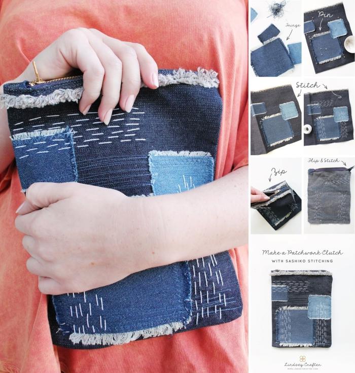 tuto pochette couture pour débutants, pochette diy en jeans recyclés à motifs broderie sashiko