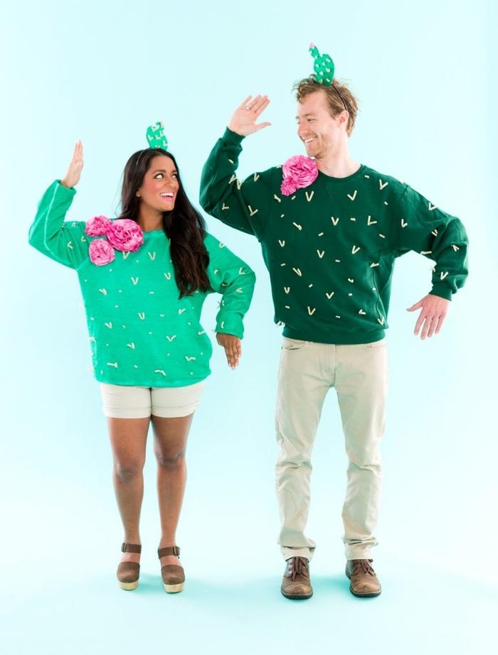 personnaliser un pull en costume de cactus, deguisement a faire soi meme facile, exemple de costumes Halloween pour couple