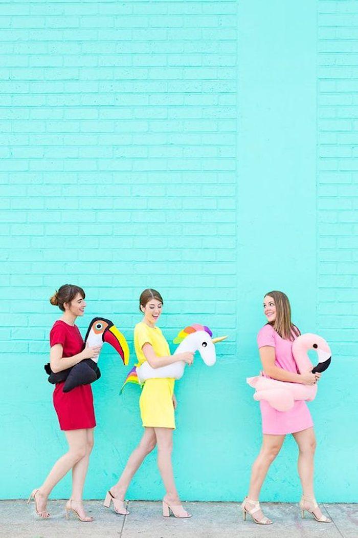 Deguisement duo, déguisement halloween fait maison pour tout le monde, pool party idée déguisement simple
