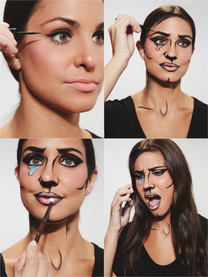 maquillage halloween facile et économique utilisant uniquement un eye-liner pour récréer un personnage pop-art
