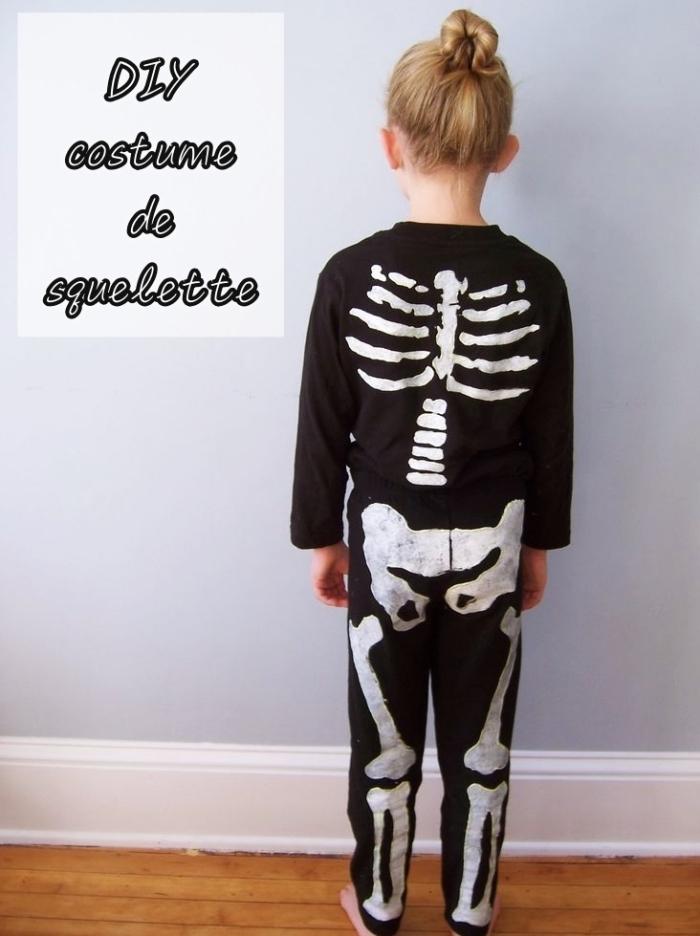 idée de déguisement halloween pour enfant avec un costume squellette DIY, exemple de déguisement facile pour Halloween