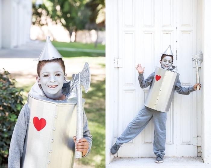modèle de deguisement a faire soi meme pour garçon, costume d'homme d'étain diy pour Halloween, activité manuelle pour Halloween