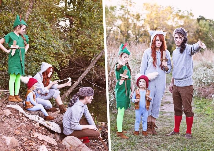 exemple de déguisement dernière minute, faire des costumes Halloween pour toute la famille, deguisement groupe sur le thème peter pan