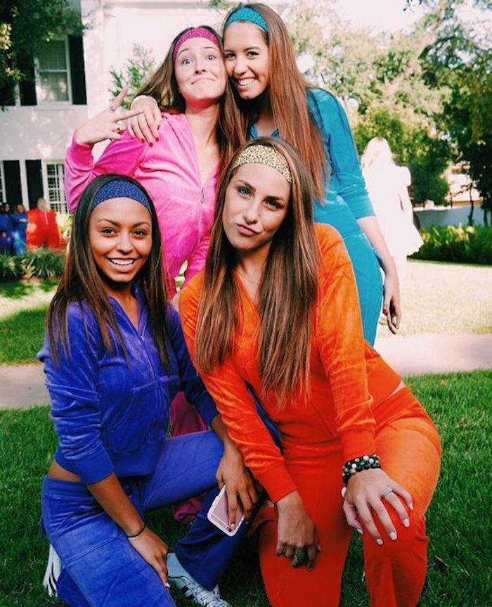 Inspiration deguisement groupe, déguisement halloween fait maison, habit costume de fête des morts, amies qui se transforment en cast de série télé