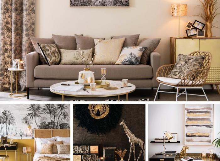 décoration intérieure de style safari party avec motifs végétaux et animaliers, mélange de style traditionnel et les tendances conteporaines