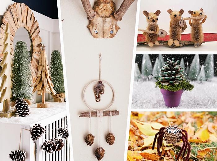 faire un sapin en pomme de pin, objets décoratifs fait main avec bois et pommes de pins, diy figurines animalières en pommes de pin