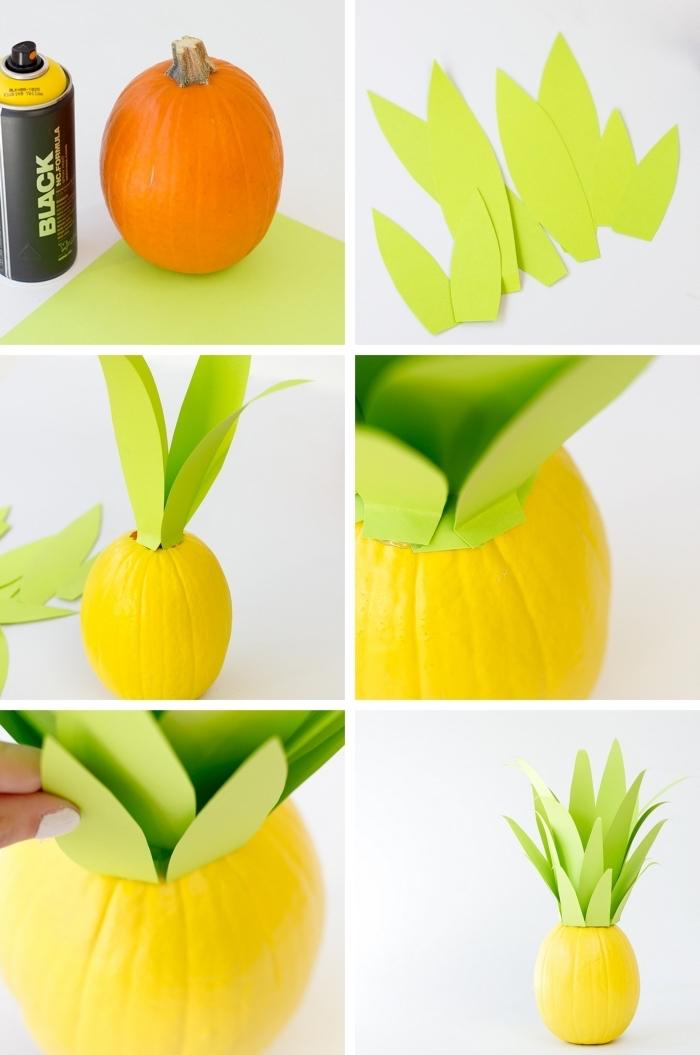activité manuelle facile pour réaliser un objet décoratif avec citrouille blanche, diy citrouille en forme d'ananas
