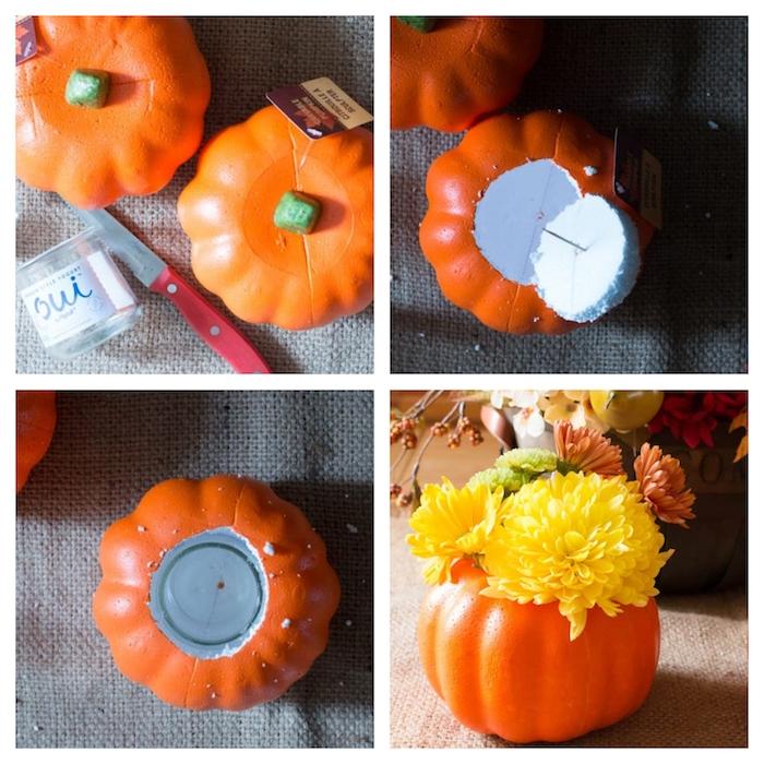 activités manuelles halloween, vase en citrouille d halloween artificielle creusée avec un verre à l intérieur