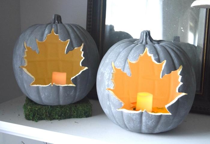 diy objets faciles pour la fête d'Halloween, modèle de fausse citrouille creusée peinte en gris avec bougie led