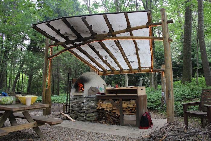 cuisine couverte d'extérieur rustique fait main avec four à bois en pierres et toit pour pique nique