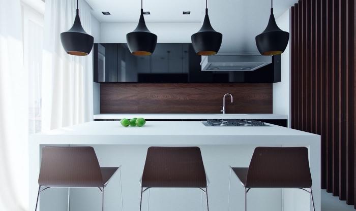 comment aménager une petite cuisine avec ilot central pour optimiser l'espace, modèle de lampes modernes en noir