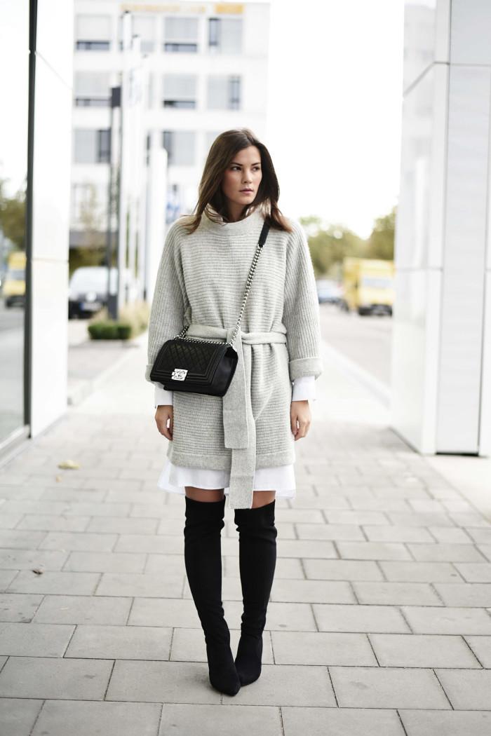 Look avec cuissarde en noir, comment porter des cuissardes avec une robe chemisier blanche, adorable idée pour les filles