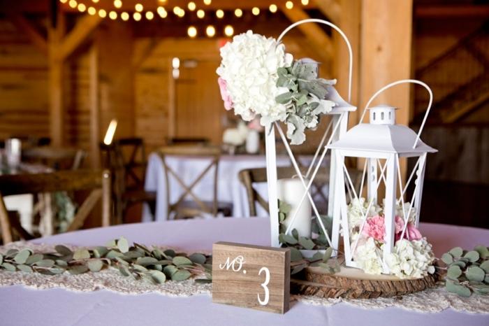 deco mariage a faire soi-meme, lanternes blanches, deco table mariage champetre