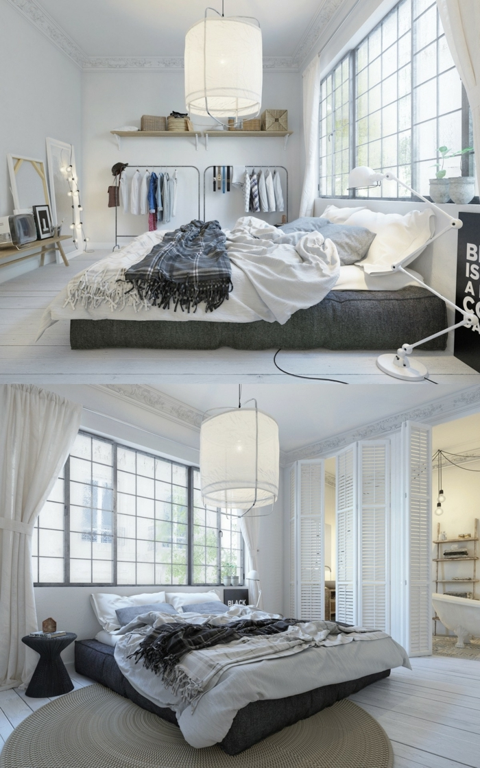 grand lit cocooning, plafonnier blanc en toile, fenêtres atelier, porte-vêtements industriels, voilages blancs