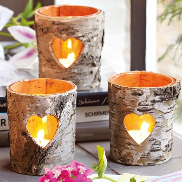 deco mariage champetre a faire soi-meme, bougeoirs écorce de bois avec découpes