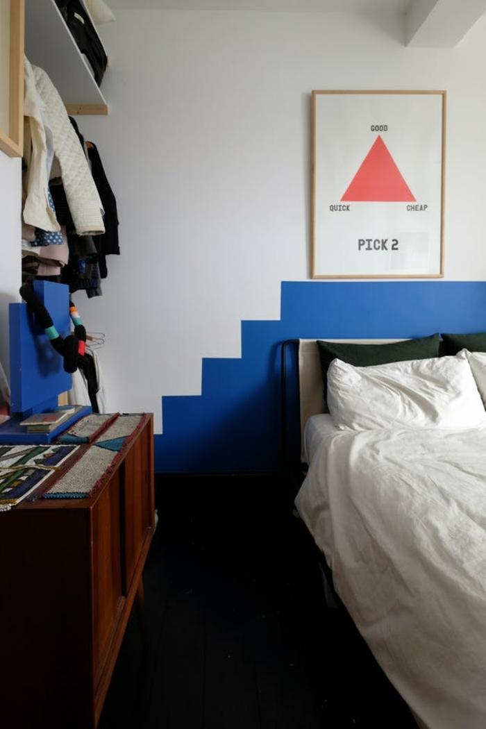 peinture pour chambre, peindre une chambre en deux couleurs, motif graphique original, art mural