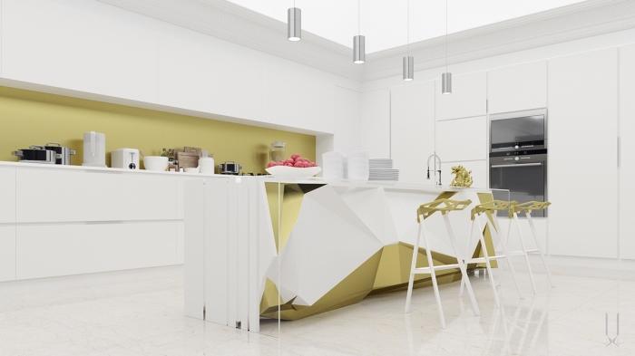 design intérieur moderne et futuriste aux lignées épurées et géométriques dans une cuisine équipée d'îlot central