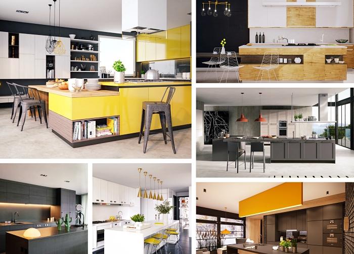 idée aménagement cuisine contemporaine avec accessoires de style industriel, modèle d'îlot central bicolore avec rangement accessoires