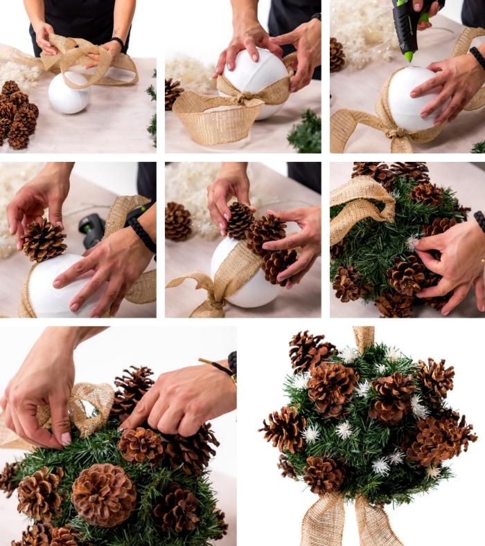 tutoriel avec les étapes pour fabriquer une jolie suspension décorative de Noel en pommes de pins et ruban beige