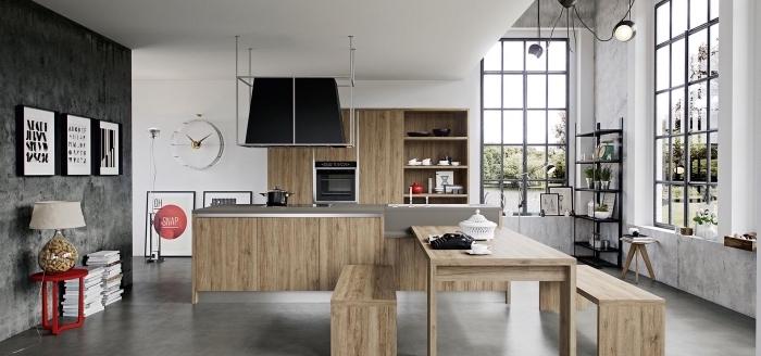 exemple comment aménager une cuisine contemporaine de style industriel, modèle îlot central en bois et inox