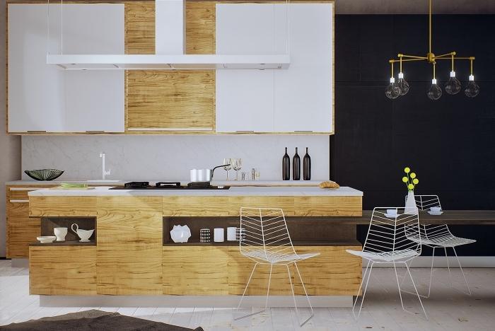 comment aménager une cuisine ilot central en blanc et bois avec accessoires en or, modèle d'îlot avec rangement ouvert