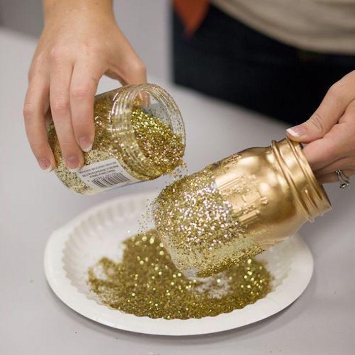 Deco fete pas cher, décoration salle anniversaire, decoration anniversaire diy avec brillant, vase décorative pour anniversaire glamour
