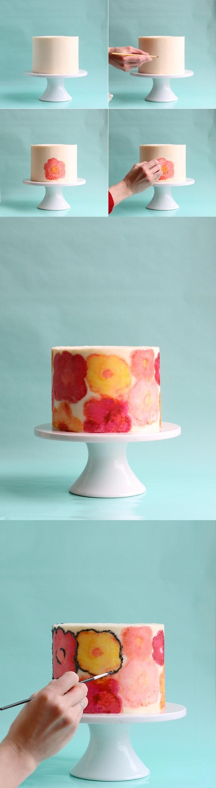tuto pour réaliser une jolie décoration florale sur un glaçage au beurre avec des colorants alimentaires gel, dessin gateau anniversaire