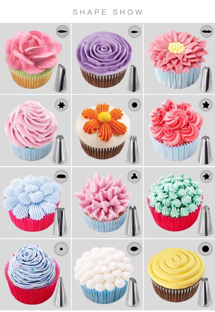 comment réaliser une jolie décoration en glaçage crème beurre à l'aide des douilles pâtissières, décoration gateau anniversaire et cupcakes réalisée à la poche à douille